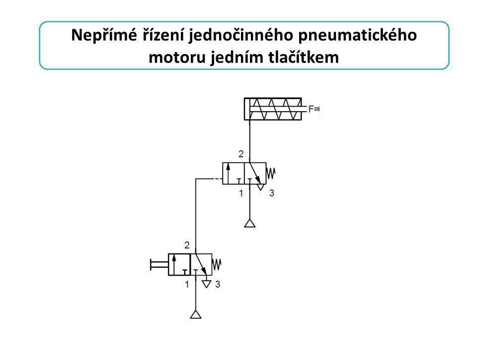 Nepřímé řízení jednočinného pneumatického motoru jedním tlačítkem