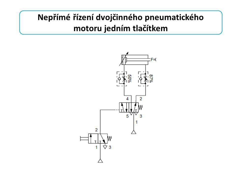 Nepřímé řízení dvojčinného pneumatického motoru jedním tlačítkem