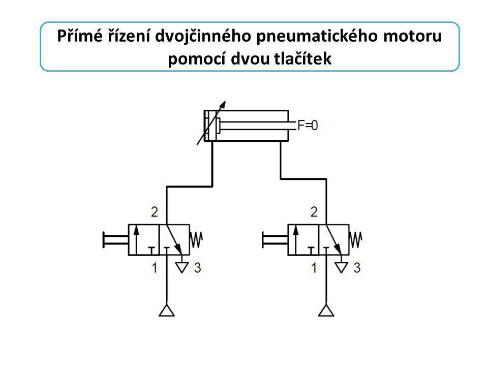 Přímé řízení dvojčinného pneumatického motoru pomocí dvou tlačítek