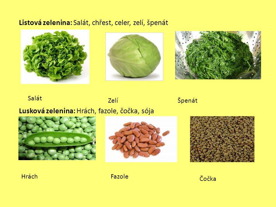 Listová zelenina: Salát, chřest, celer, zelí, špenát Lusková zelenina: Hrách, fazole, čočka, sója