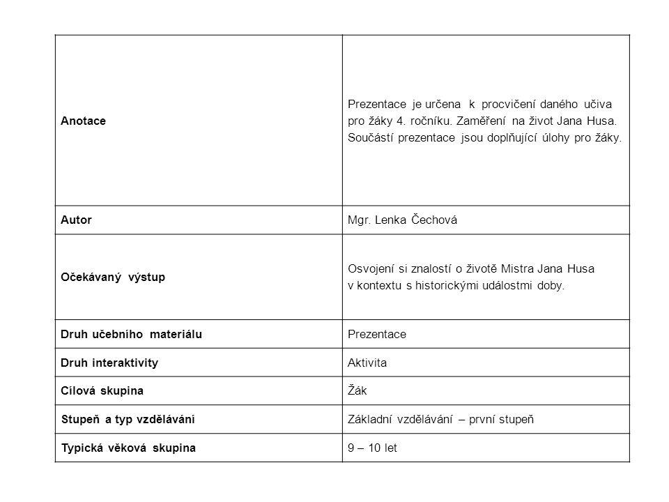 Anotace Prezentace je určena k procvičení daného učiva. pro žáky 4. ročníku. Zaměření na život Jana Husa.
