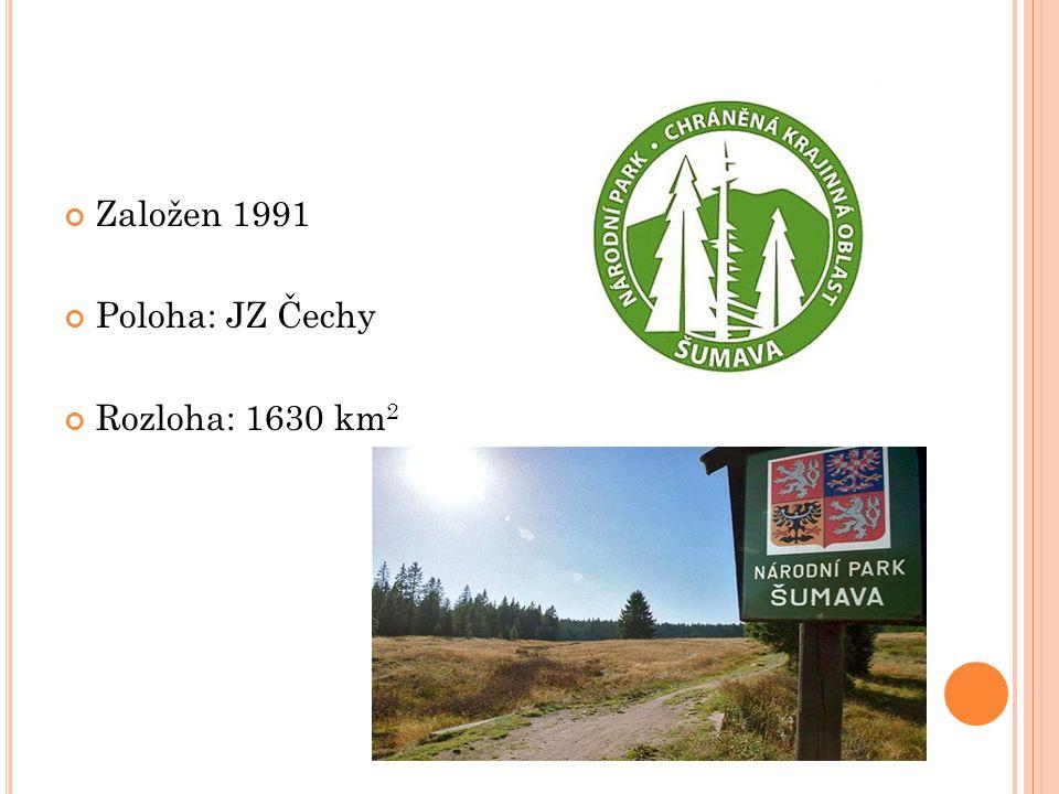 Založen 1991 Poloha: JZ Čechy Rozloha: 1630 km2