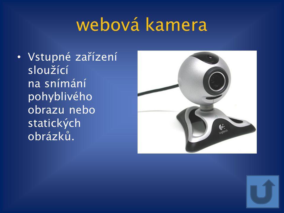 webová kamera Vstupné zařízení sloužící na snímání pohyblivého obrazu nebo statických obrázků.