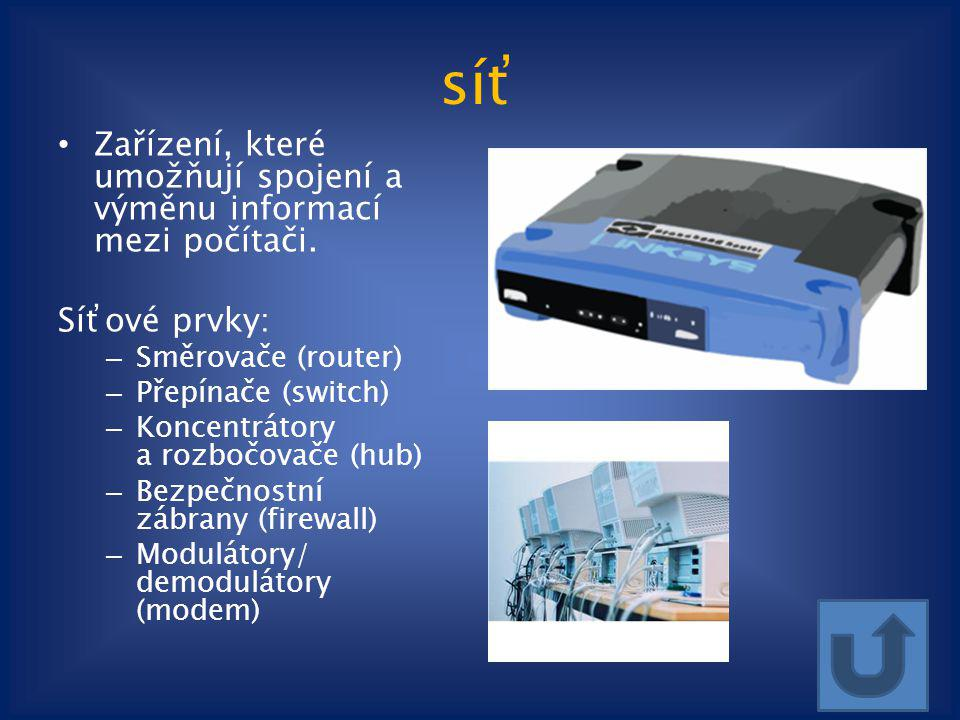síť Zařízení, které umožňují spojení a výměnu informací mezi počítači.