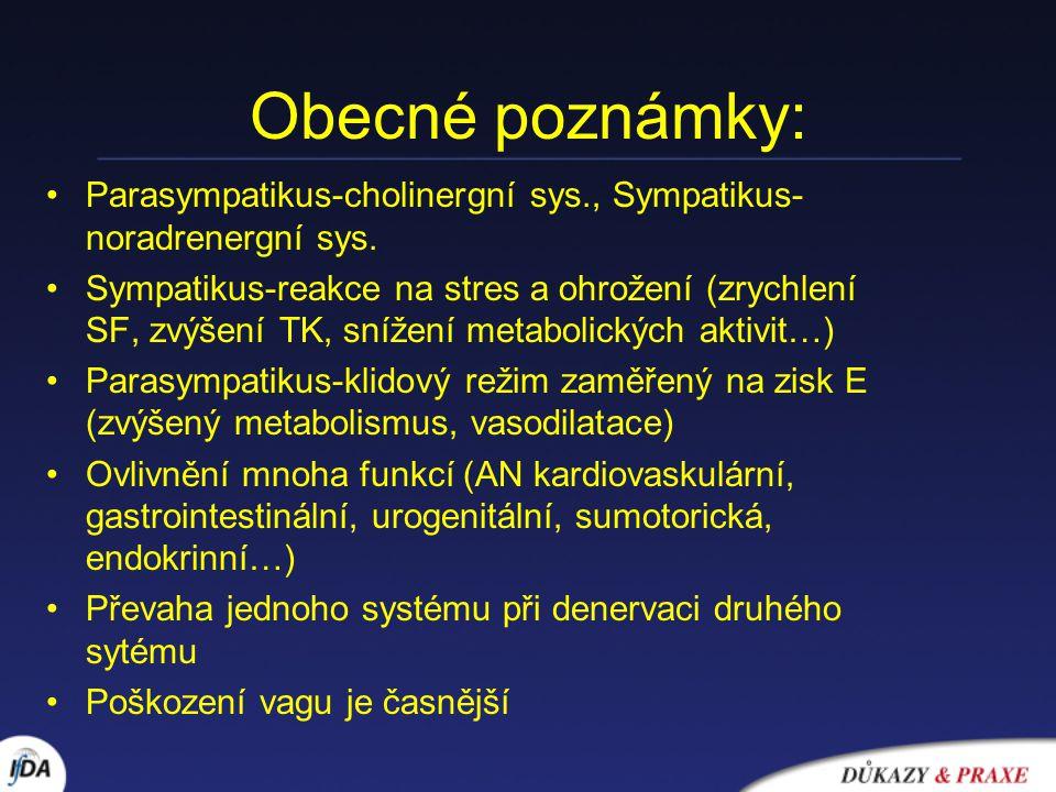 Obecné poznámky: Parasympatikus-cholinergní sys., Sympatikus- noradrenergní sys.