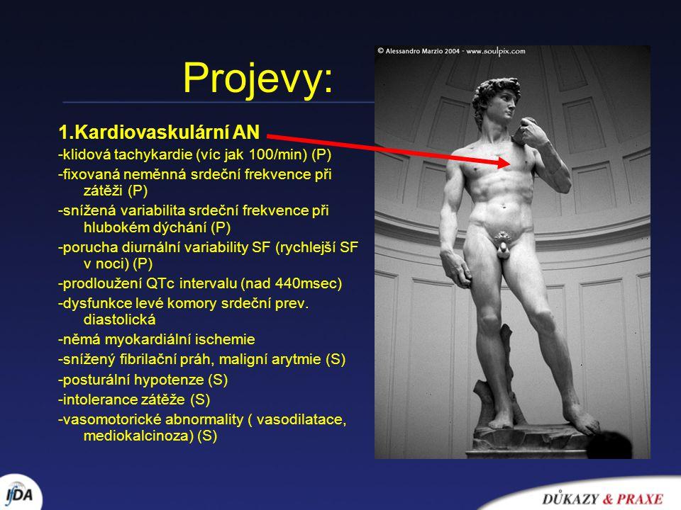 Projevy: 1.Kardiovaskulární AN