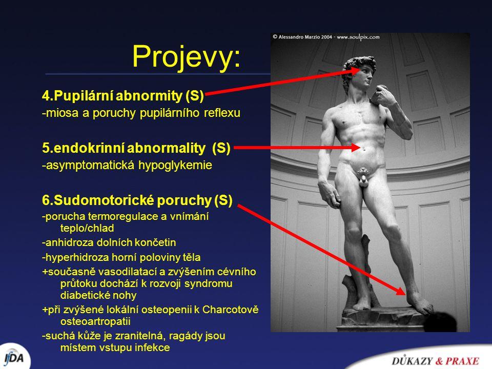 Projevy: 4.Pupilární abnormity (S) 5.endokrinní abnormality (S)