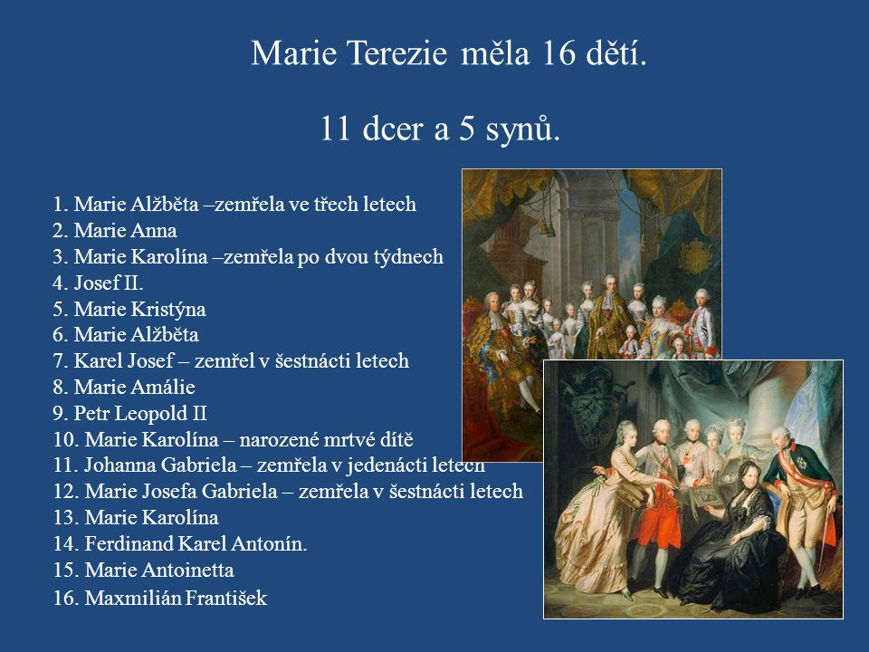 Marie Terezie měla 16 dětí.