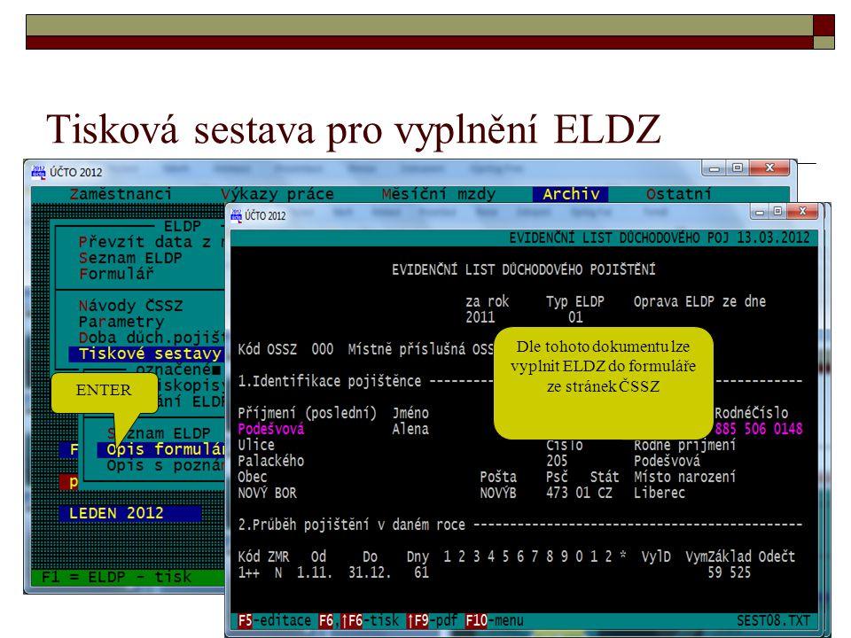Tisková sestava pro vyplnění ELDZ
