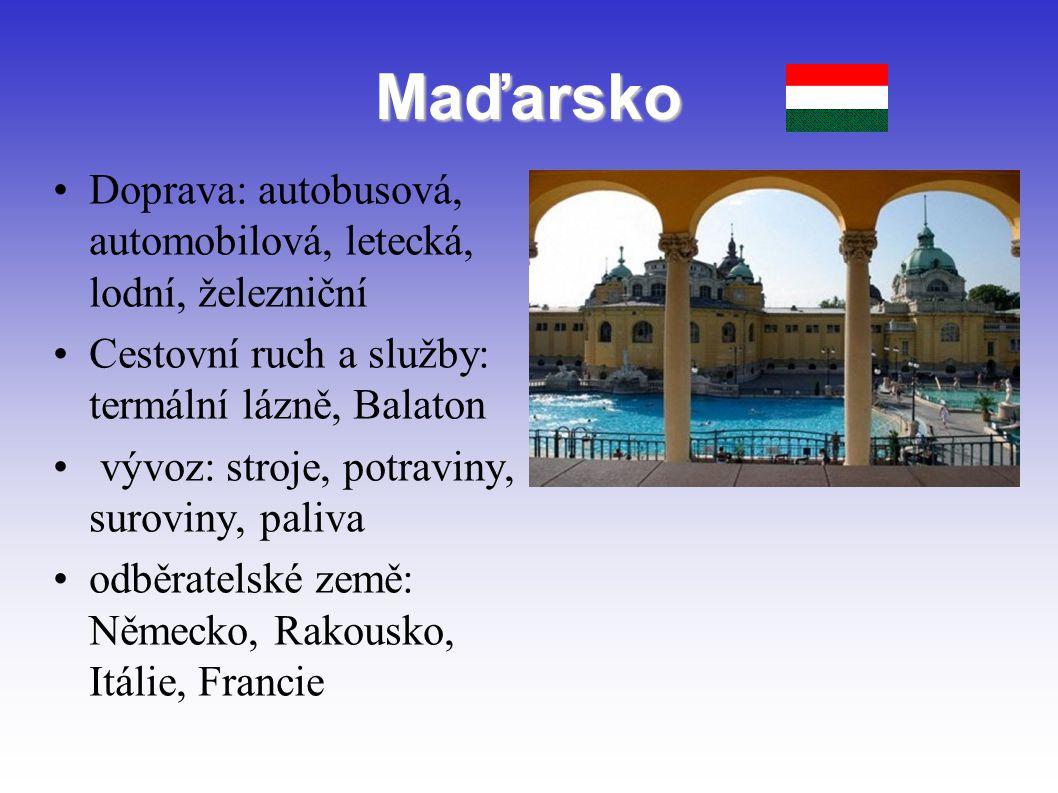 Maďarsko Doprava: autobusová, automobilová, letecká, lodní, železniční