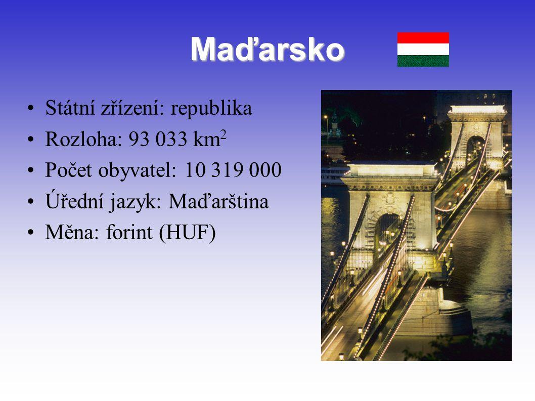 Maďarsko Státní zřízení: republika Rozloha: 93 033 km2