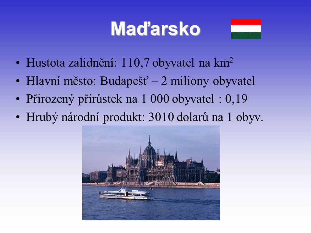Maďarsko Hustota zalidnění: 110,7 obyvatel na km2
