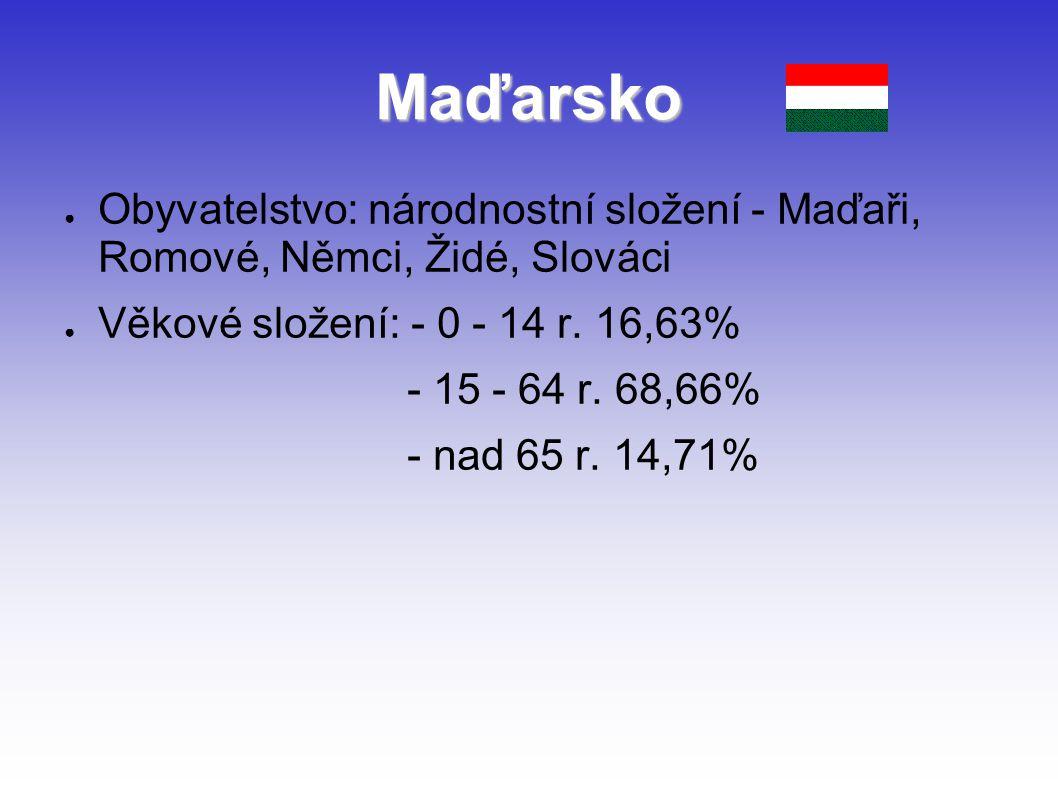 Maďarsko Obyvatelstvo: národnostní složení - Maďaři, Romové, Němci, Židé, Slováci. Věkové složení: - 0 - 14 r. 16,63%