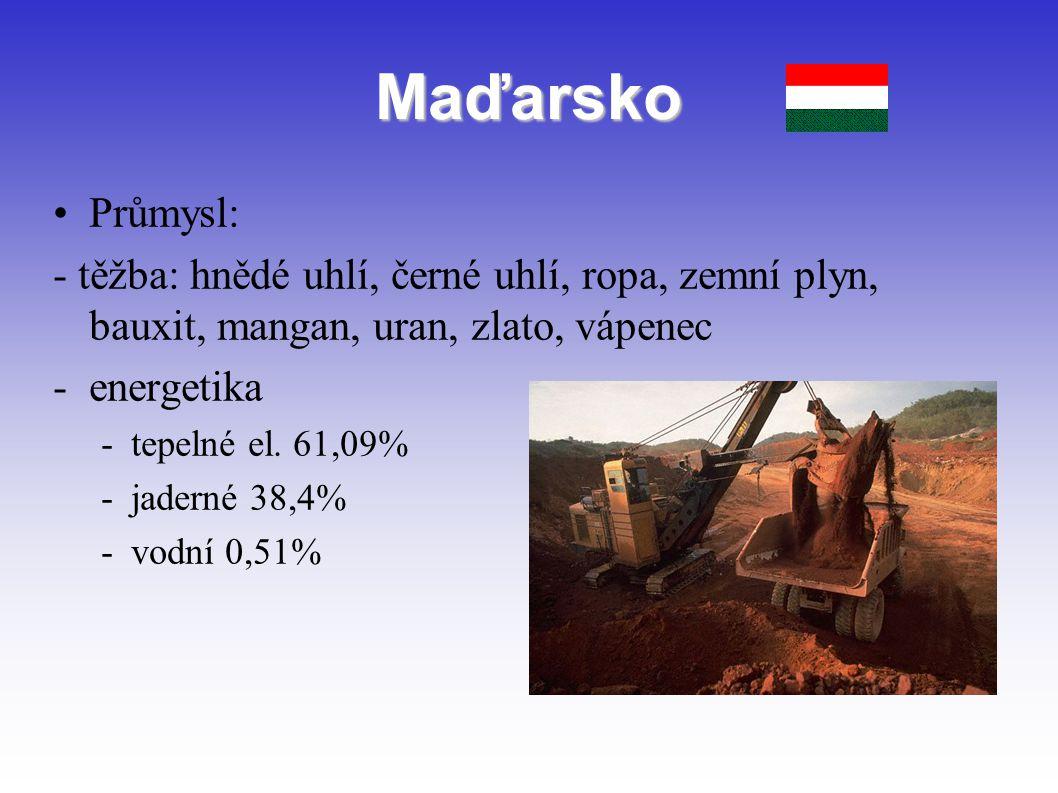 Maďarsko Průmysl: - těžba: hnědé uhlí, černé uhlí, ropa, zemní plyn, bauxit, mangan, uran, zlato, vápenec.