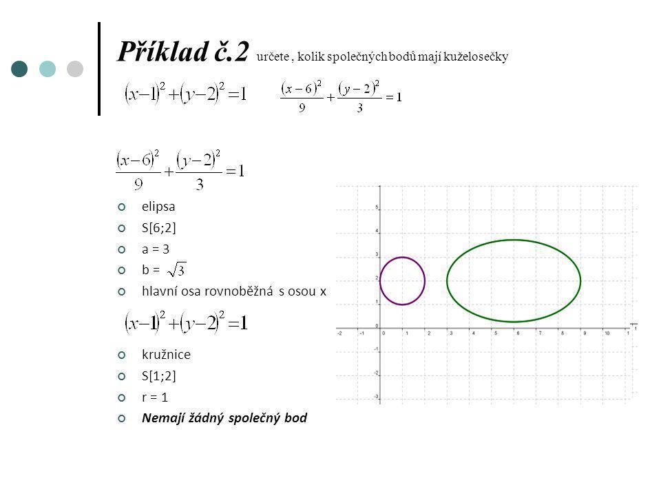 Příklad č.2 určete , kolik společných bodů mají kuželosečky