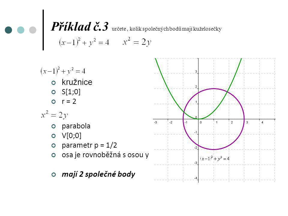 Příklad č.3 určete , kolik společných bodů mají kuželosečky