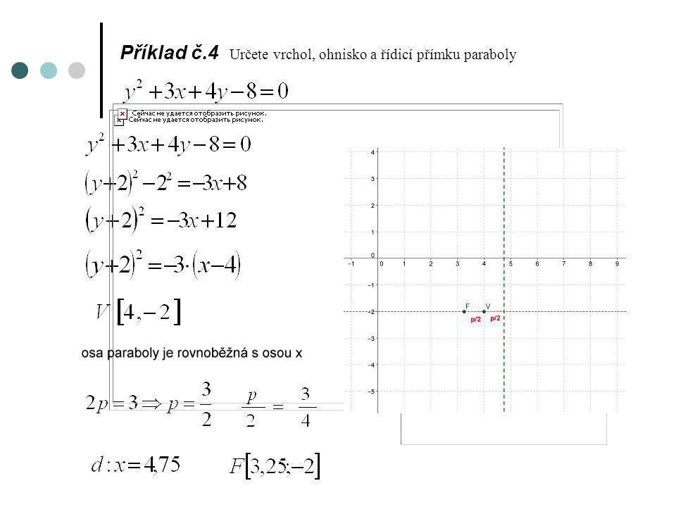 Příklad č.4 Určete vrchol, ohnisko a řídicí přímku paraboly