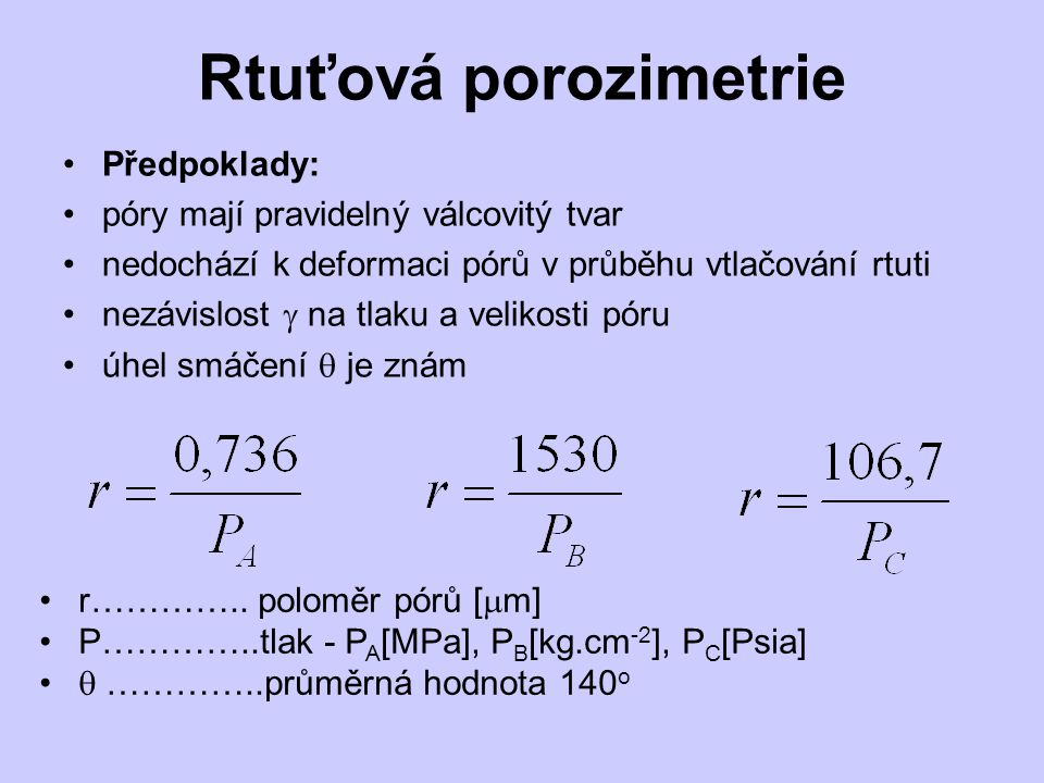Rtuťová porozimetrie Předpoklady: póry mají pravidelný válcovitý tvar