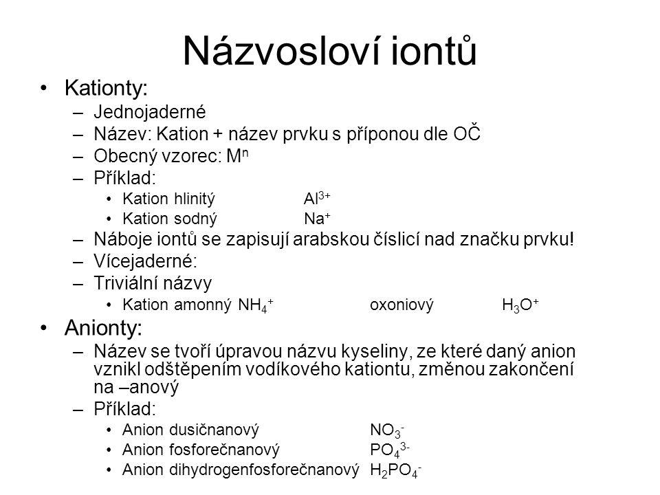 Názvosloví iontů Kationty: Anionty: Jednojaderné