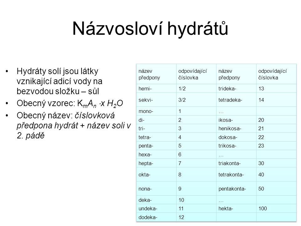 Názvosloví hydrátů Hydráty solí jsou látky vznikající adicí vody na bezvodou složku – sůl. Obecný vzorec: KmAn ⋅x H2O.