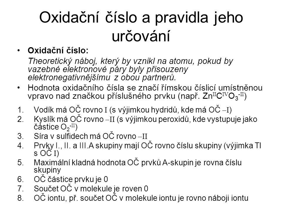 Oxidační číslo a pravidla jeho určování
