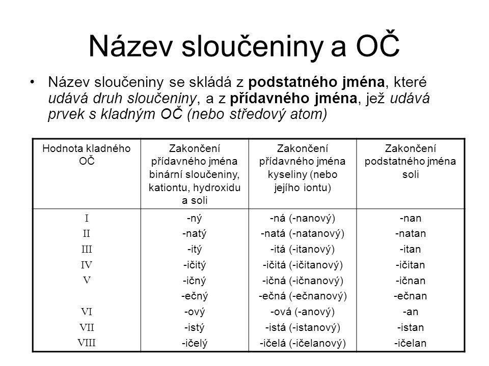 Název sloučeniny a OČ