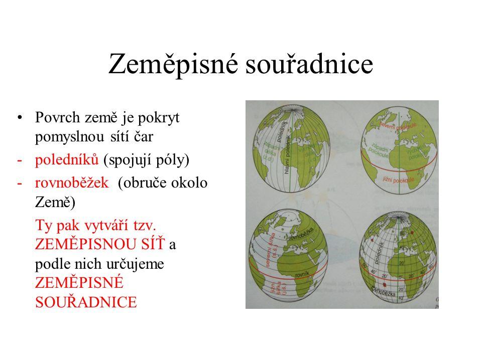 Zeměpisné souřadnice Povrch země je pokryt pomyslnou sítí čar