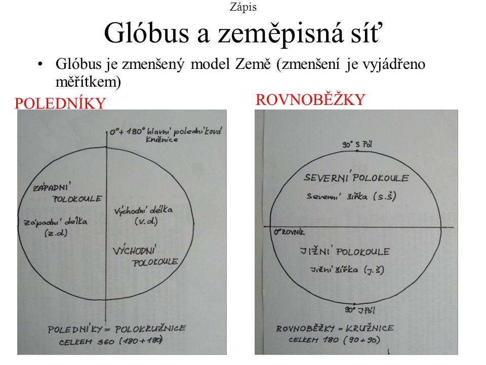 Zápis Glóbus a zeměpisná síť