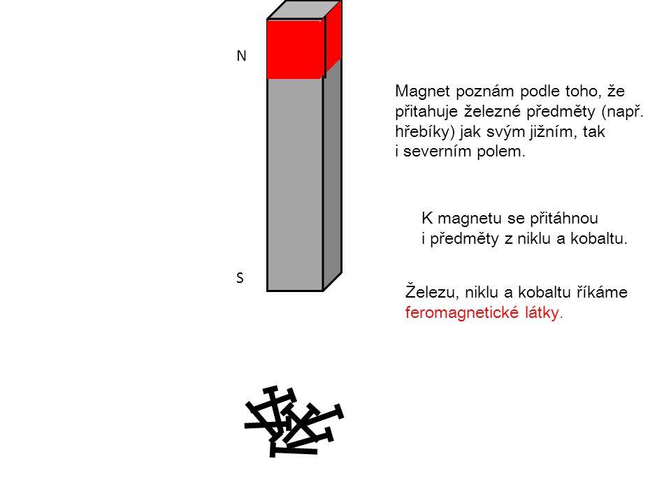 N S. Magnet poznám podle toho, že. přitahuje železné předměty (např. hřebíky) jak svým jižním, tak i severním polem.