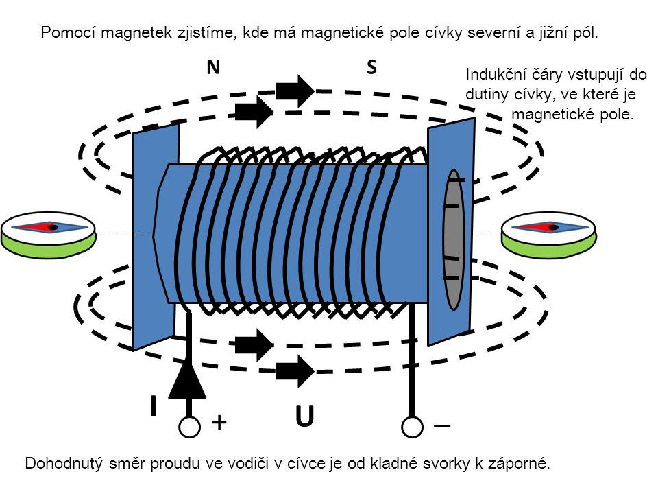 Pomocí magnetek zjistíme, kde má magnetické pole cívky severní a jižní pól.