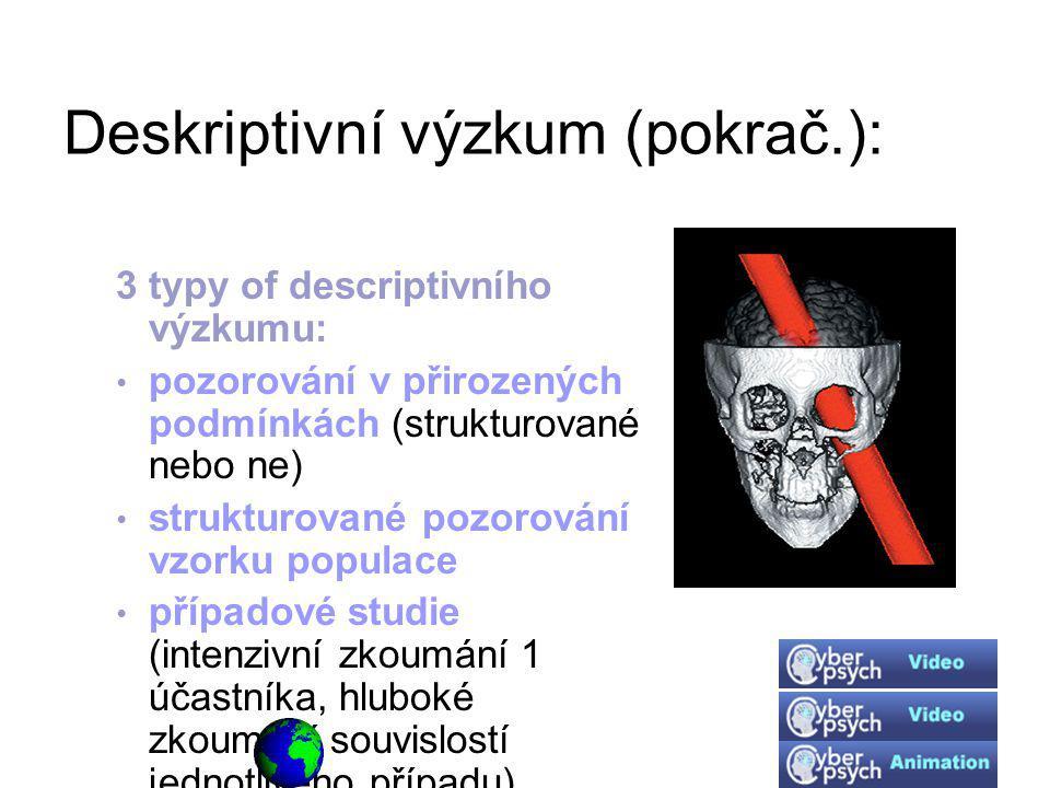 Deskriptivní výzkum (pokrač.):