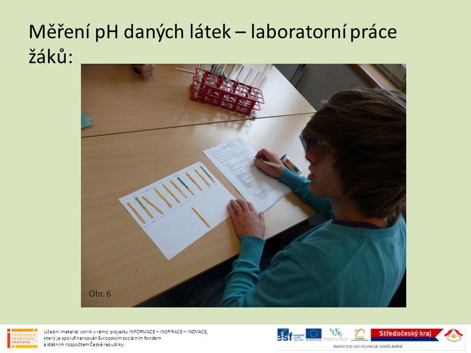 Měření pH daných látek – laboratorní práce žáků: