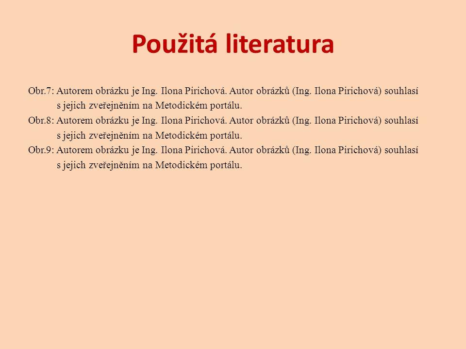 Použitá literatura Obr.7: Autorem obrázku je Ing. Ilona Pirichová. Autor obrázků (Ing. Ilona Pirichová) souhlasí.