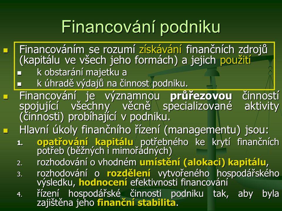 Financování podniku Financováním se rozumí získávání finančních zdrojů (kapitálu ve všech jeho formách) a jejich použití.