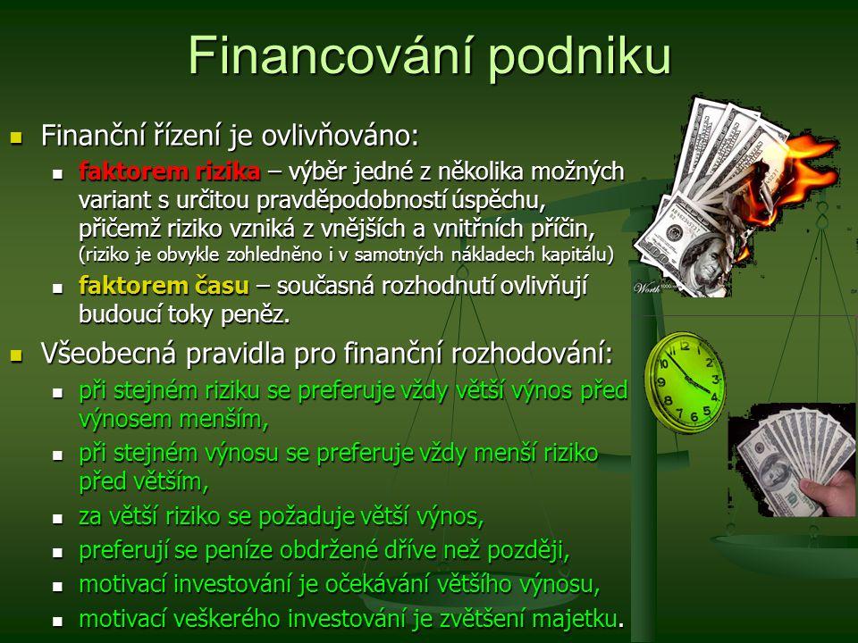 Financování podniku Finanční řízení je ovlivňováno: