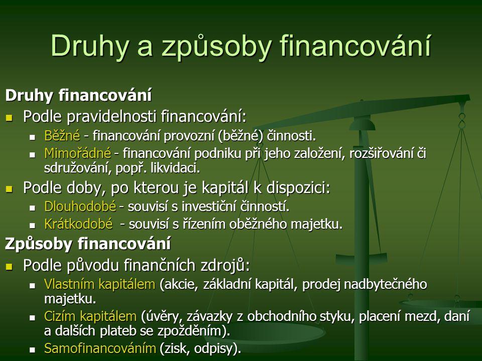 Druhy a způsoby financování