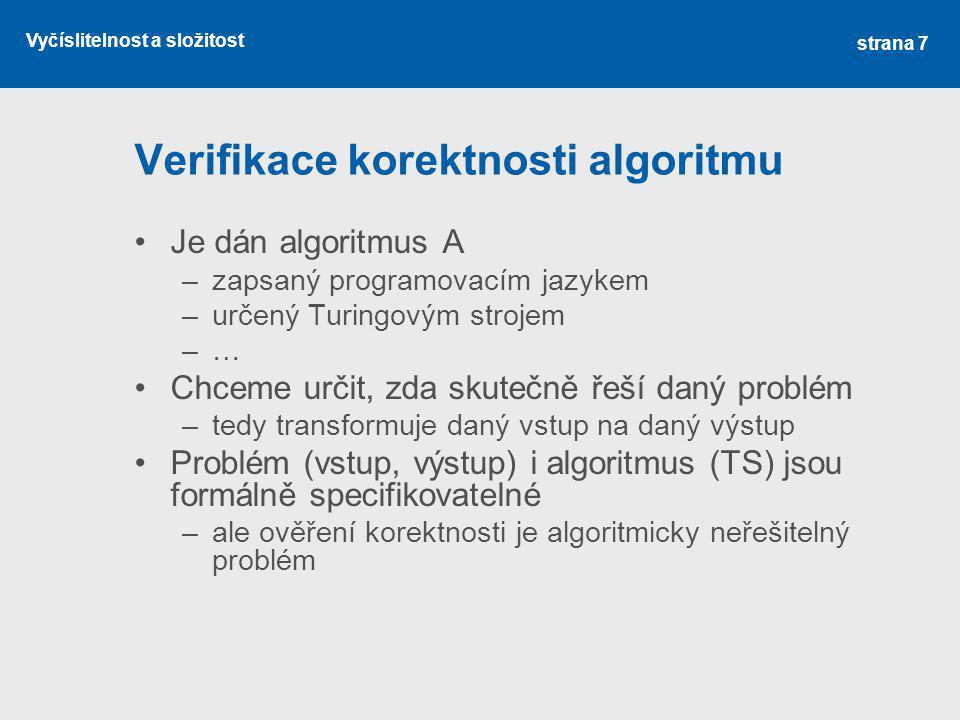 Verifikace korektnosti algoritmu