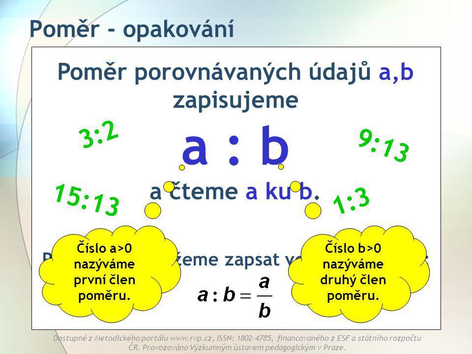 Poměr - opakování Poměr porovnávaných údajů a,b zapisujeme a : b a čteme a ku b. 3:2. 9:13. 15:13.