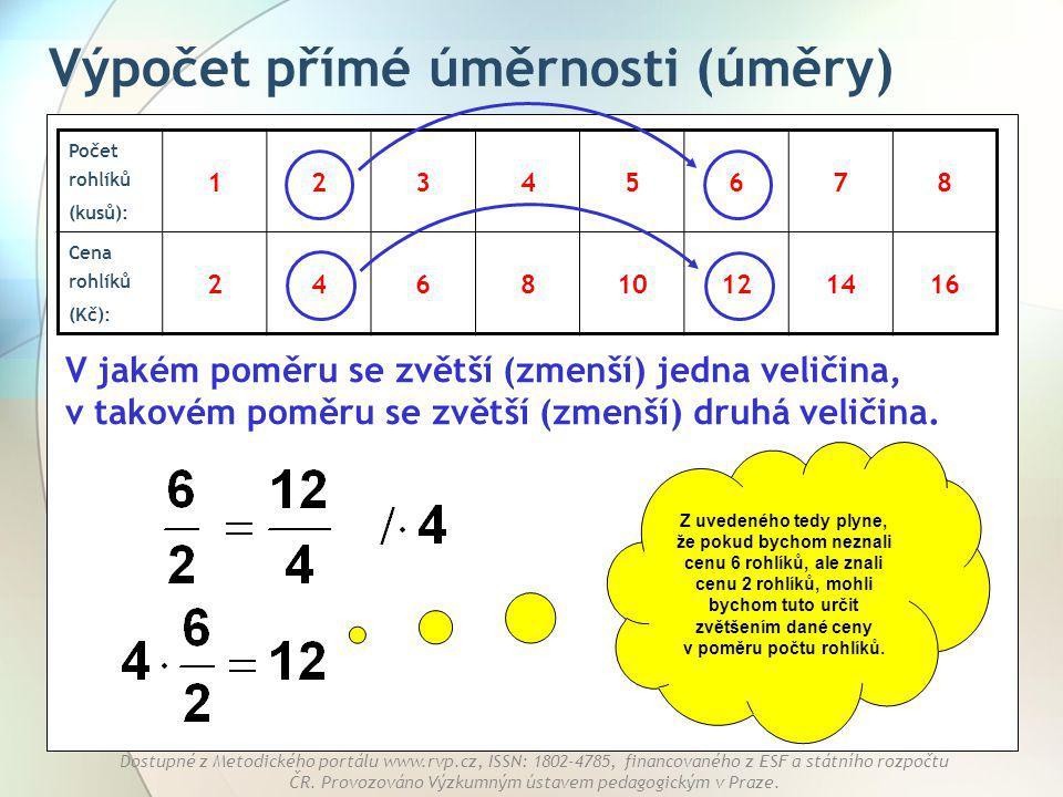 Výpočet přímé úměrnosti (úměry)