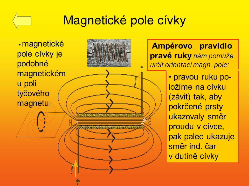 Magnetické pole cívky magnetické pole cívky je podobné magnetickému poli tyčového magnetu.