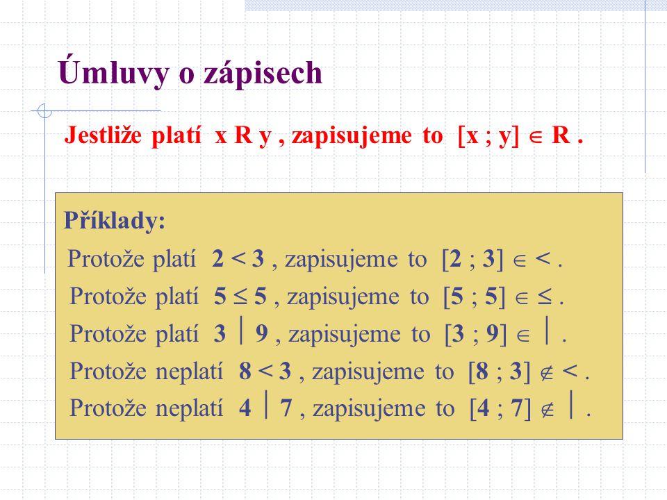 Úmluvy o zápisech Jestliže platí x R y , zapisujeme to x  y  R .