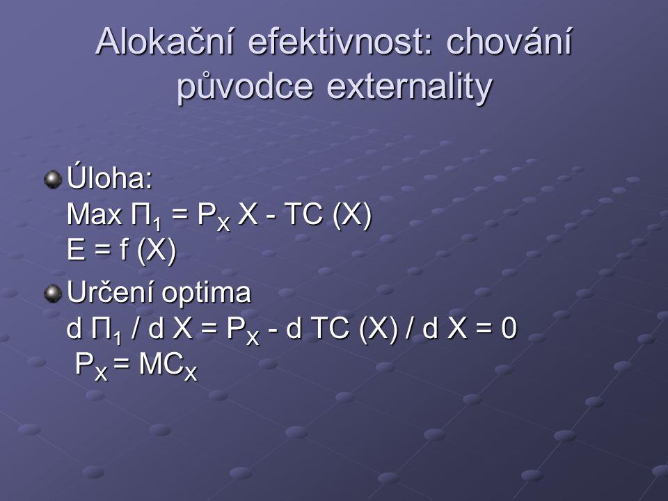 Alokační efektivnost: chování původce externality