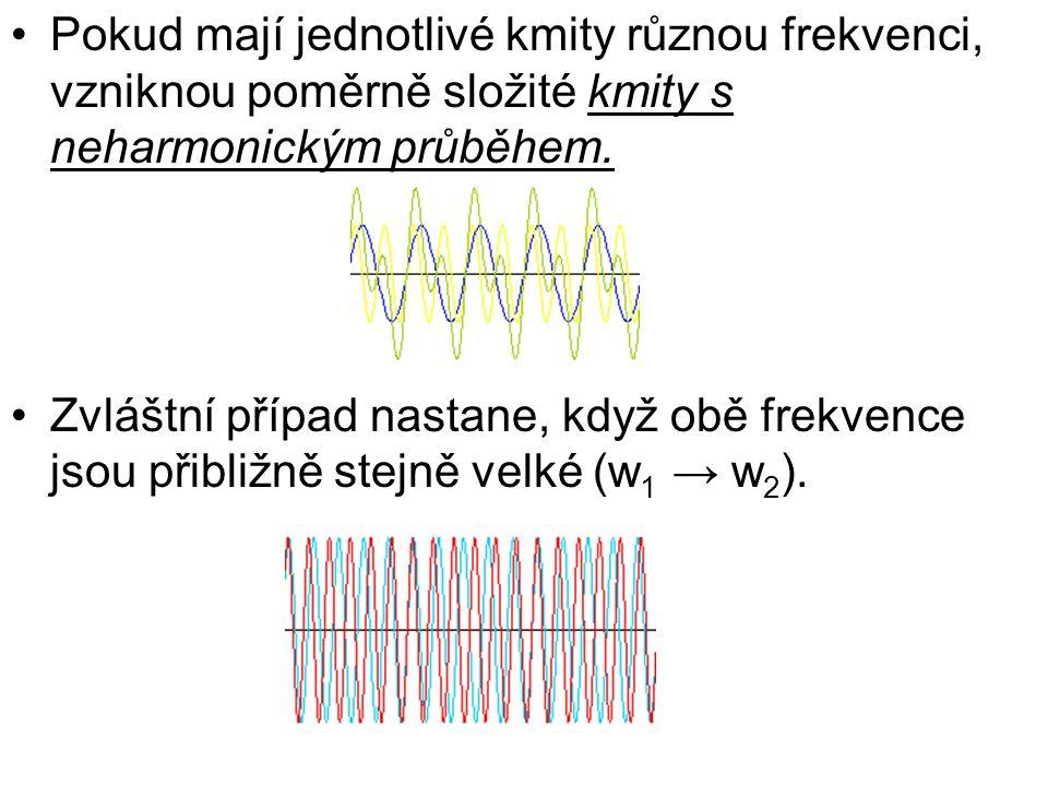 Pokud mají jednotlivé kmity různou frekvenci, vzniknou poměrně složité kmity s neharmonickým průběhem.