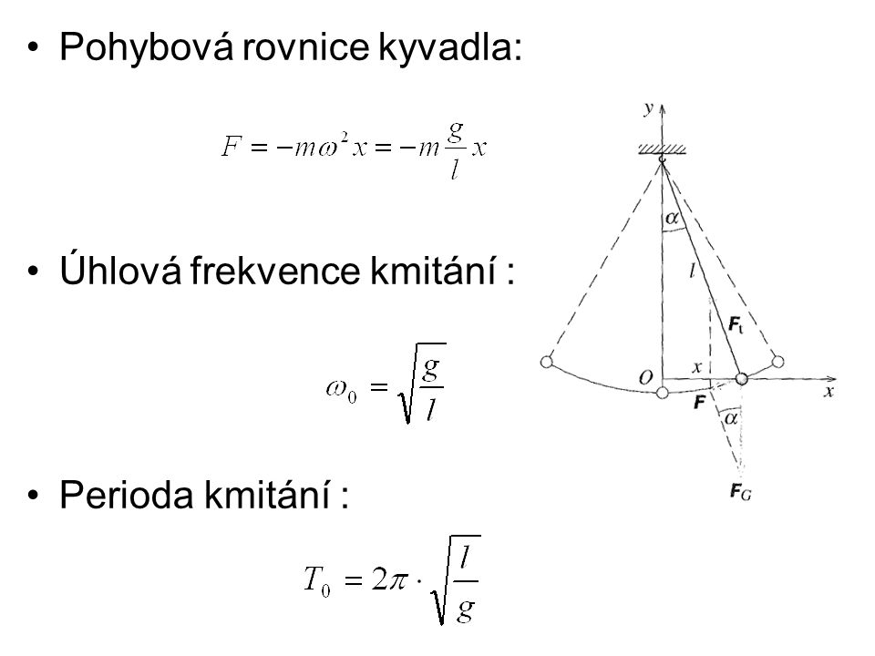 Pohybová rovnice kyvadla: