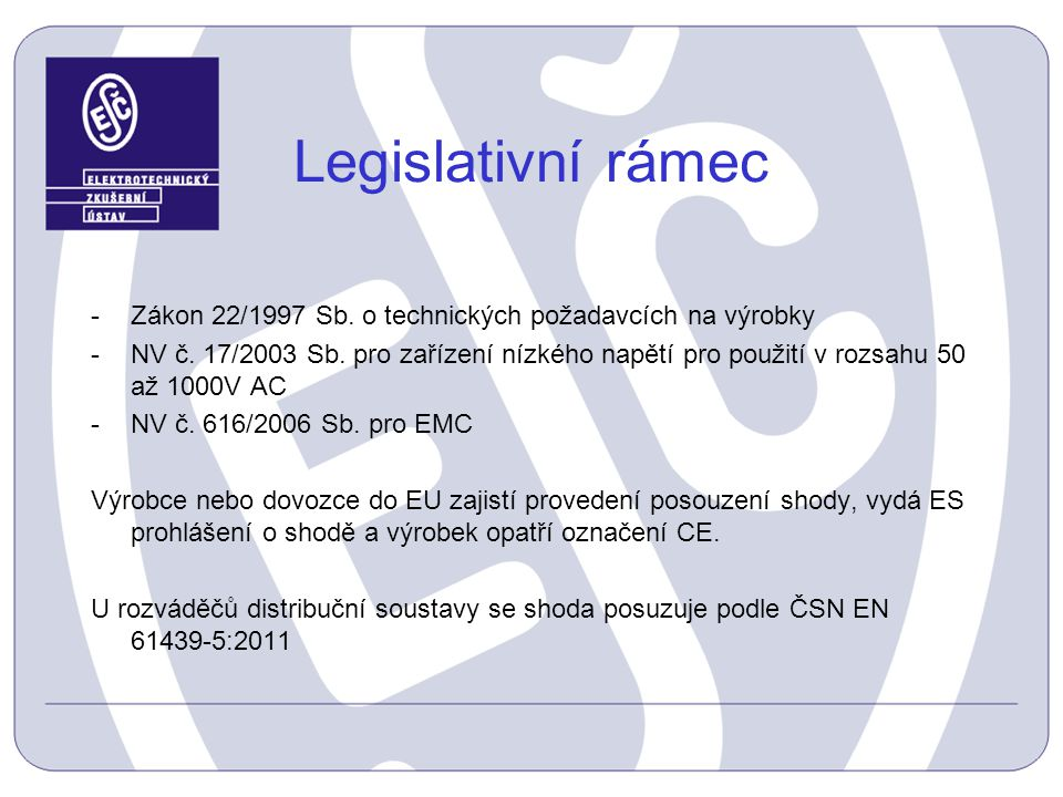 Legislativní rámec Zákon 22/1997 Sb. o technických požadavcích na výrobky.