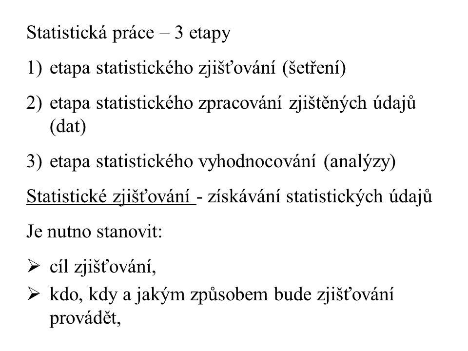 Statistická práce – 3 etapy