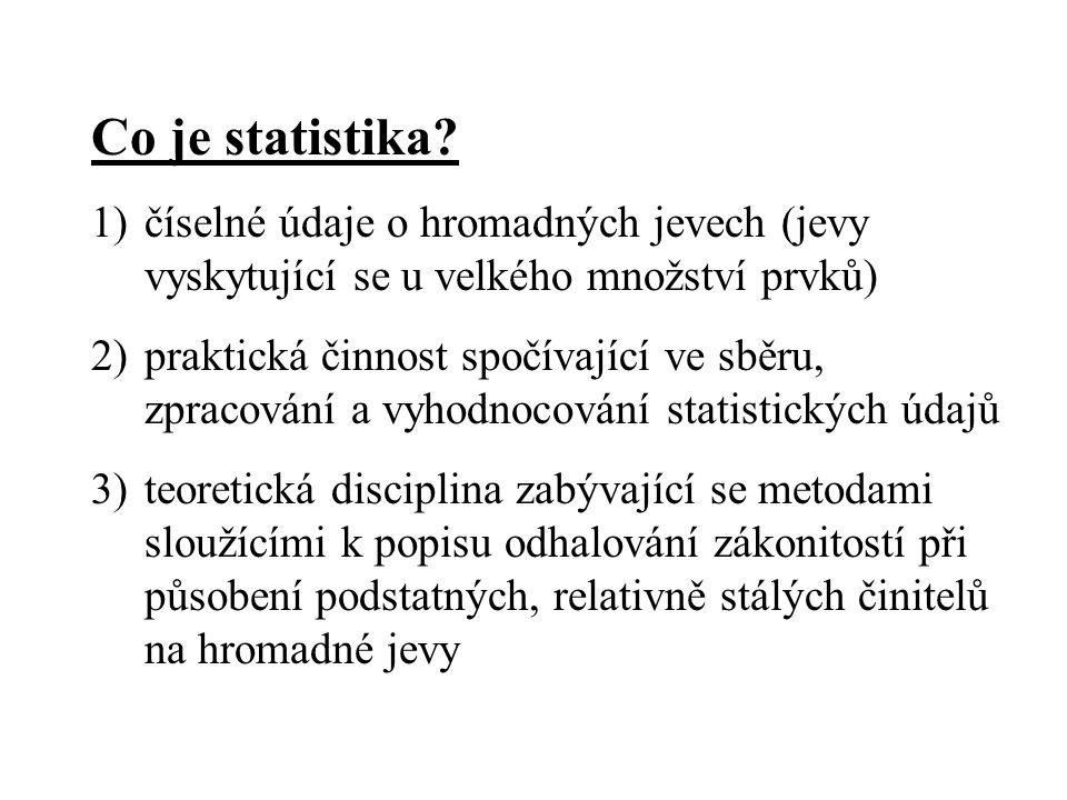 Co je statistika číselné údaje o hromadných jevech (jevy vyskytující se u velkého množství prvků)