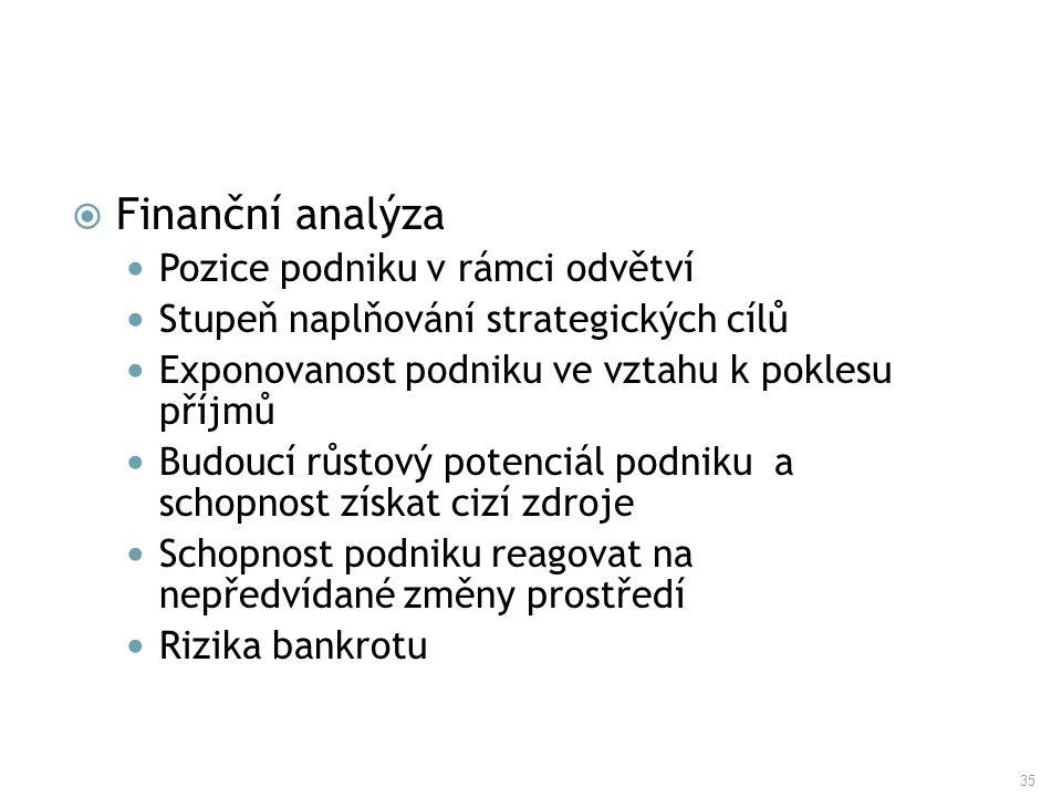 Finanční analýza Pozice podniku v rámci odvětví