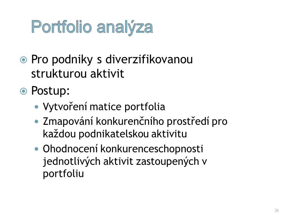 Portfolio analýza Pro podniky s diverzifikovanou strukturou aktivit