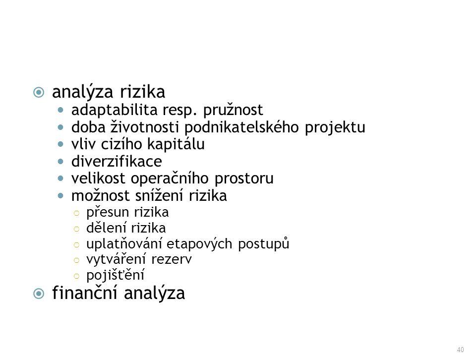 analýza rizika finanční analýza adaptabilita resp. pružnost